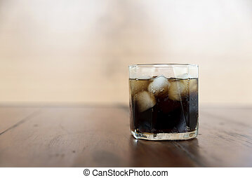 soft drink on wood background