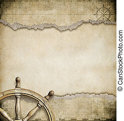 old steering wheel and torn nautical map background -...