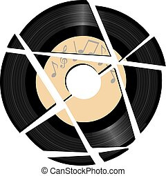 Broken vinyl Record with music label - A vinyl record with a...