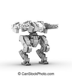 sci fi military robot on white background - high quality 3d...