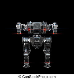 sci fi military robot neon light on white background - high...