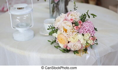 Wedding bouquet of pink peony