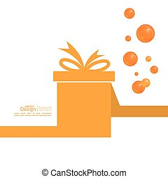 Gift box with ribbon and bow and festive orange balls. Gift...