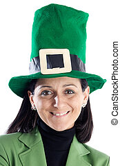 Woman whit a hat green a over white background