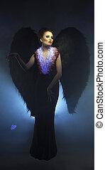 estúdio, foto, de, bonito, succubus, com, asas,