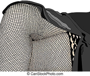 Woman in fishnet stockings - Illustration depicting a woman...