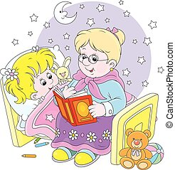 Granny and granddaughter reading - Grandmother reading aloud...