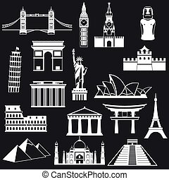 World famous buildings abstract silhouettes - vector icon...