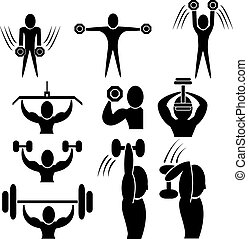 Fitness with dumbbell and barbell icon, weight...