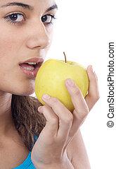 Girl whit an apple