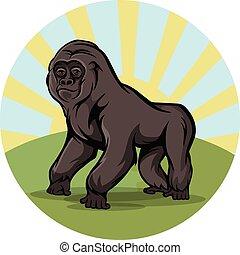 Cartoon gorilla round emblem