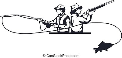 Hunter and fisherman silhouettes