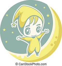 Cute kid on the moon, vector illustration