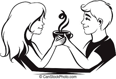 Couple in love with coffee