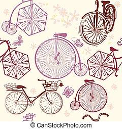 Beautiful seamless wallpaper pattern with stylized old-fashioned bikes.eps
