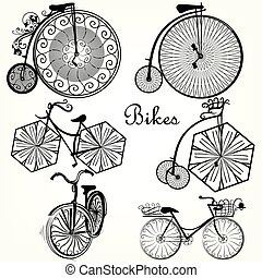 Collection of vector decorative bikes in old-fashioned style.eps