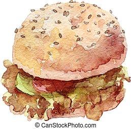 watercolor burger hand drawn, eps10 - watercolor burger hand...