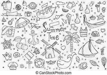 Big hand drown set on white background of summer doodles...