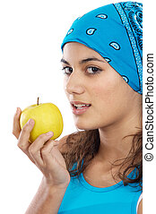 Girl whit an apple - Attractive girl whit an apple a over...