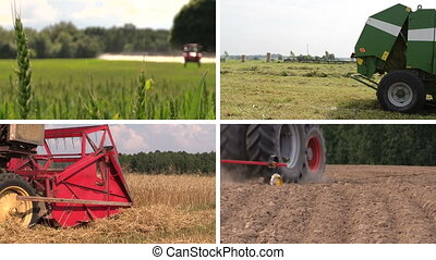 agricultural work collage - Agricultural equipment spray...