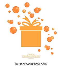 Gift box with ribbon and bow and festive orange balls Gift...