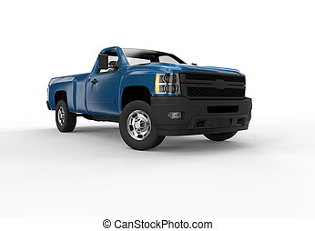 Front of a blue pick up truck isolated on a white background