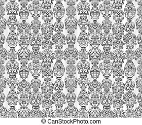 sugar skulls seamless pattern - sugar skulls decorative...