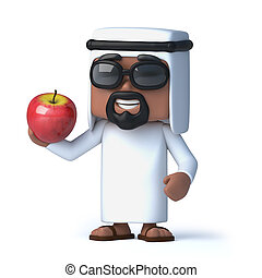 3d Arab eats an apple - 3d render of an Arab holding a red...