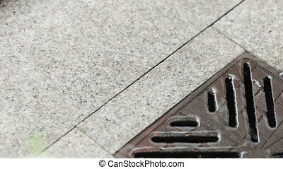 Rain Gutters on granite tile - On granite tiles with heavy...