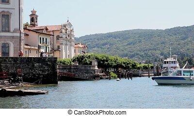 Isola Bella - Tourist Boats docking at isola Bella, Maggiore...