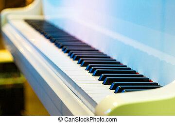 Piano keys . - Close-up of piano keys. close frontal view.