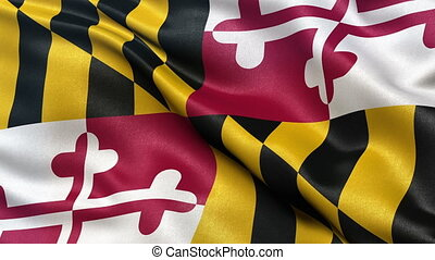 Maryland state flag seamless loop - US state flag of...