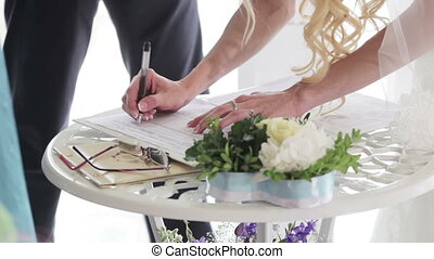 Marriage sign contract - Bride sign marriage wedding...
