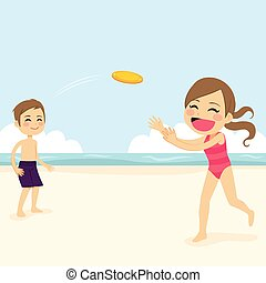 Kids Playing Flying Disk - Two cute little kids playing...