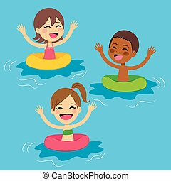 Kids Swimming With Floats