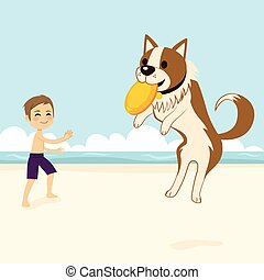Dog Catching Flying Disk - Boy playing with dog catching...