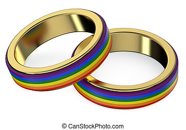 Gay Marriage Concept with Rainbow Rings