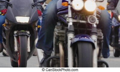 HD - Bikers in the City. Close-up
