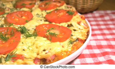 Italian pizza with meat, tomatoes ,dill and double cheese