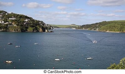 Salcombe estuary Devon UK boats - Salcombe Devon England UK...
