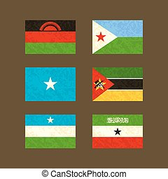 Flags of Malawi, Djibouti, Somalia, Mozambique, Puntland and...