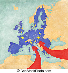 Migration to Europe. Illustrative map of immigration to the...