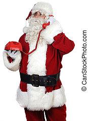 Santa Claus at the phone