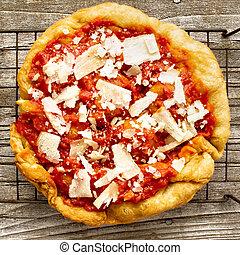 rustic italian deep fried pizza fritta - close up of rustic...