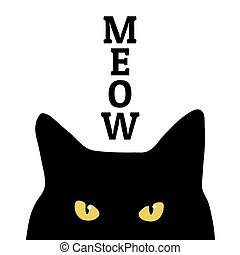 Black cat and meow inscription. Print on clothes. Vector.