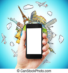 travel concept - hand with empty cell phone with travel...