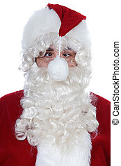 cross-eyed Santa Claus with a pompom in front of his face