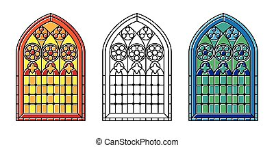 Stained glass windows - A set of Gothic Style stained glass...