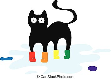 Cat in colored rubber boots Print on clothes - Cat in...