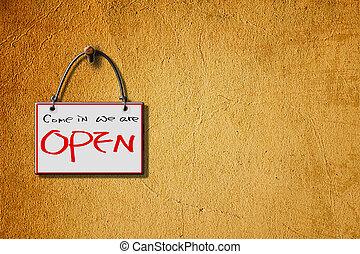 nós, parede, abertos, isolado, sinal, penduradas, venha
